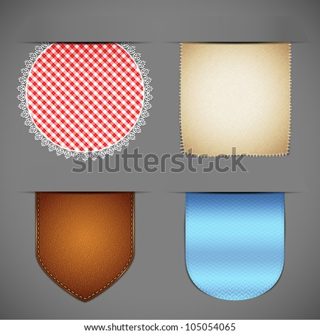 vector illustration of set of different fabric textured label