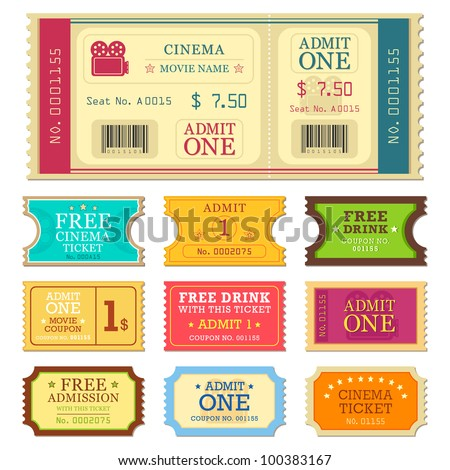 vector illustration of set of different movie ticket