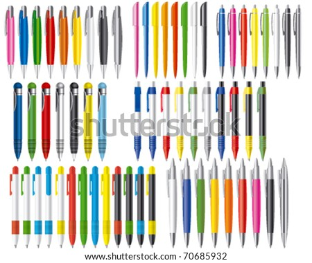 Vector illustration of set of different pens - stock vector