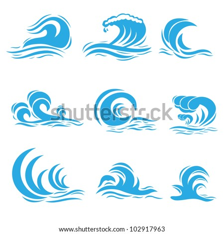 vector illustration of set of different style wave