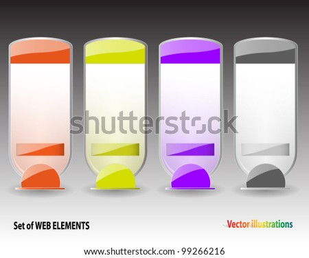 Vector illustration of set of empty labels with sands.  Background and description in separate layers.