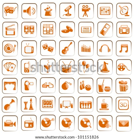 vector illustration of set of entertainment icon against white background