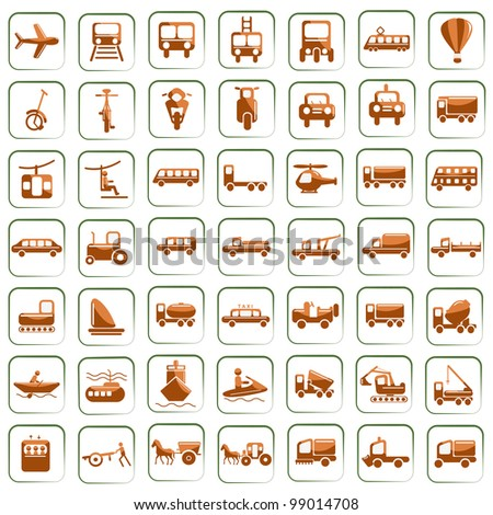 vector illustration of set of means of transport icon against isolated background