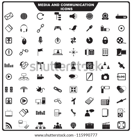 vector illustration of set of media icon against isolated background