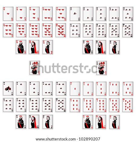 vector illustration of set of playing card