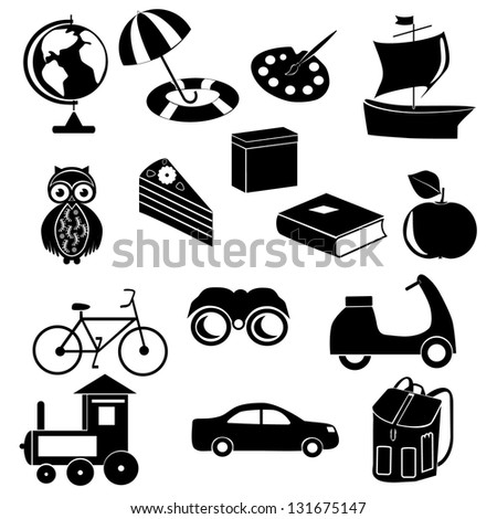 Vector illustration of set of several school icons.Toy icons