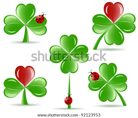 vector illustration of set of   shamrocks with four lucky leaves ladybug isolated on white background.  St. Patrick's day theme
