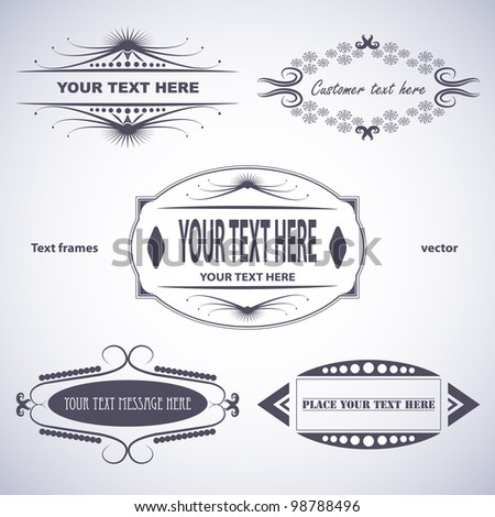 Vector illustration of set of text frames. Blue tone. Background in separate layer.