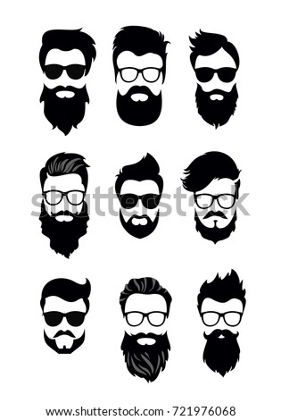Vector illustration of set of vector bearded men faces, hipsters with different haircuts, mustaches, beards. Silhouettes men haircuts flat style.