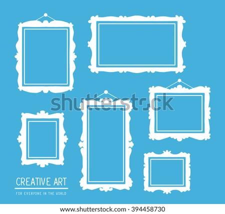 Vector illustration of set of white rectangular frames on blue background. Art design for web, site, advertising, banner, poster, flyer, brochure, board, card, paper print.