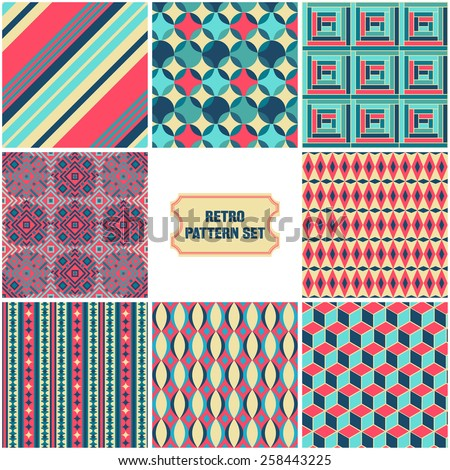 Vector Illustration of Set Retro  Seamless Pattern for Design, Website, Background, Banner. Vintage Element for Wallpaper or Textile.  Green, Blue, Red, Pink, Ochre  Texture Template