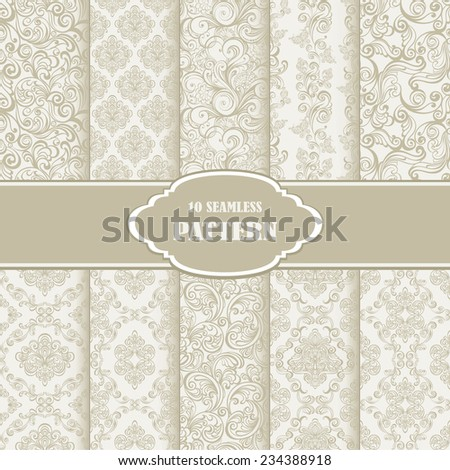 Vector illustration of set seamless floral pattern.