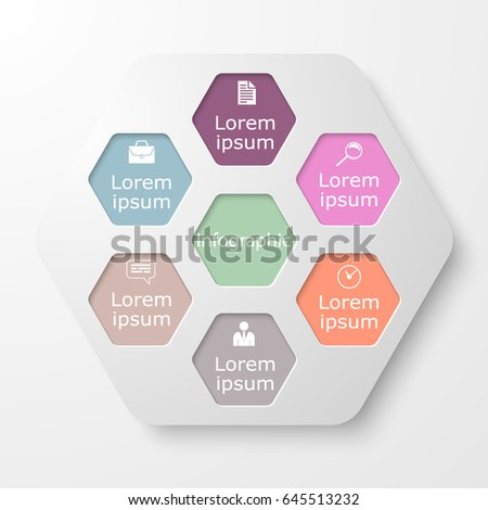 Vector illustration of seven variants of infographics. Template for graphs, graphics, presentations and diagrams. Business concept with seven steps, parts, steps or processes.