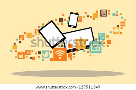 Vector illustration of several multimedia devices surrounded with app icons.