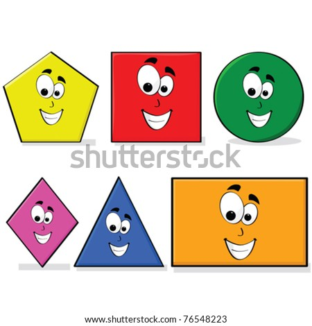 Vector illustration of shapes in different colors with a happy cartoon face, great for kids learning basic geometry