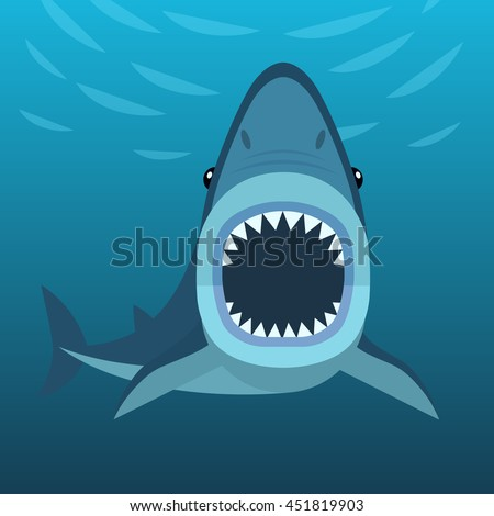 Vector illustration of shark with open mouth full of sharp teeth, isolated on a sea background. Shark attacks under the water.