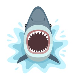 Vector illustration of shark with open mouth full of sharp teeth, isolated on a white background. Shark attacks from the water.