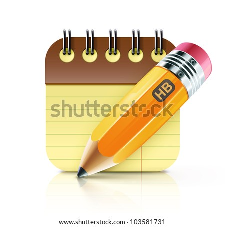 Vector illustration of sharpened fat yellow pencil with coil bound notebook