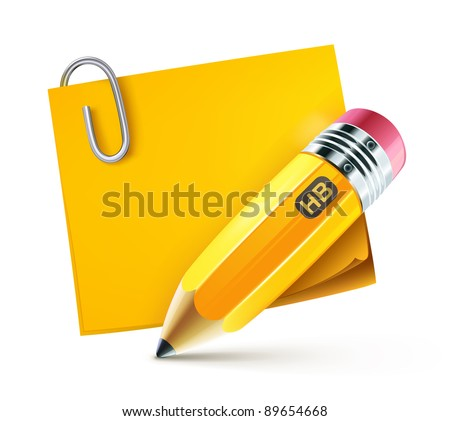 Vector illustration of sharpened fat yellow pencil with pad
