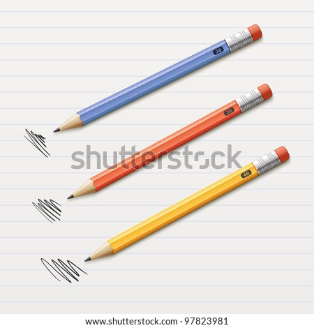 Vector illustration of 3 sharpened pencils isolated on paper
