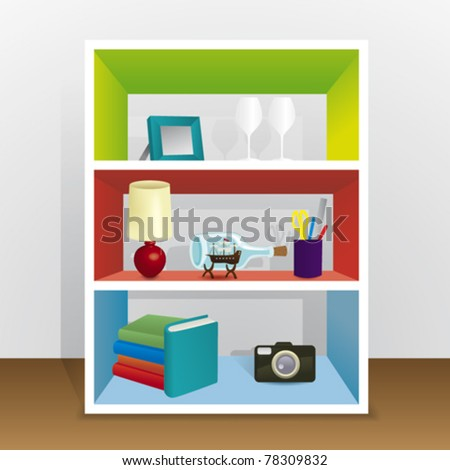 Vector Illustration of shelving with objects