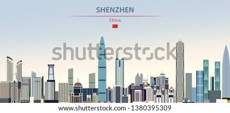Vector illustration of Shenzhen city skyline on colorful gradient beautiful daytime background