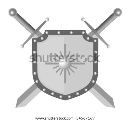 Vector illustration of shield and two swords