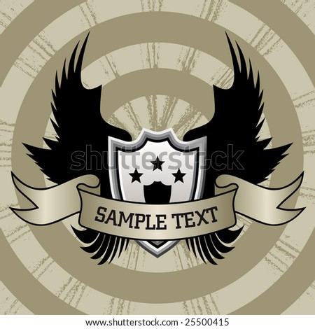 vector illustration of shield and wings set on grunge background