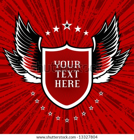 vector illustration of shield and wings set on red grunge background