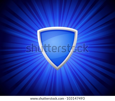 vector illustration of shield on blue rays background