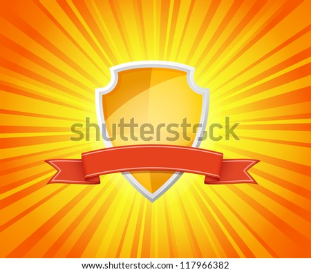 Vector illustration of shield with red ribbon for message on sunrays background