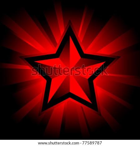vector illustration of shining star on black