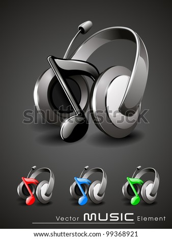 Vector illustration of shinning 3d music Headphone icon in grey, red, blue and green colors. EPS 10, isolated on grey background.