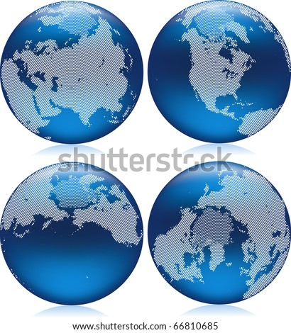 Vector illustration of shiny blue Earth globe with round dots on northern hemisphere