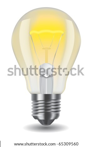 Vector illustration of shiny classic light bulb
