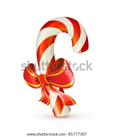 Vector illustration of shiny red Christmas candy cane with bow