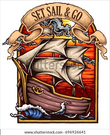 vector illustration of ship