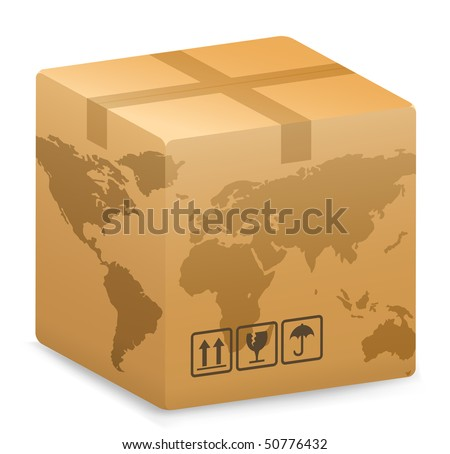 Vector illustration of Shipping Box with World Globe Map. International Shipping Concept.