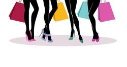 Vector illustration of Shopping girls silhouette