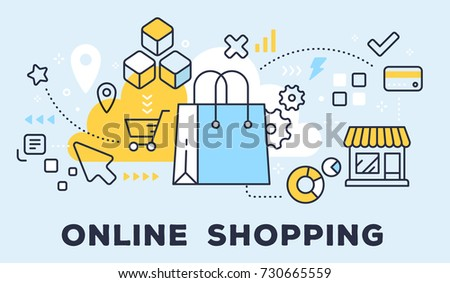 Vector illustration of shopping hand bag, store and icons. Online shopping concept on blue background with title. Thin line art flat style design for web, site, banner, business presentation
