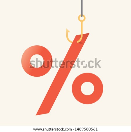 Vector illustration of shopping sales symbol (percentage sign) on fishing hook. Idea - Consumerism, stores retail discounts, Black Friday holiday event, investments and dividends, bank deposit profit.