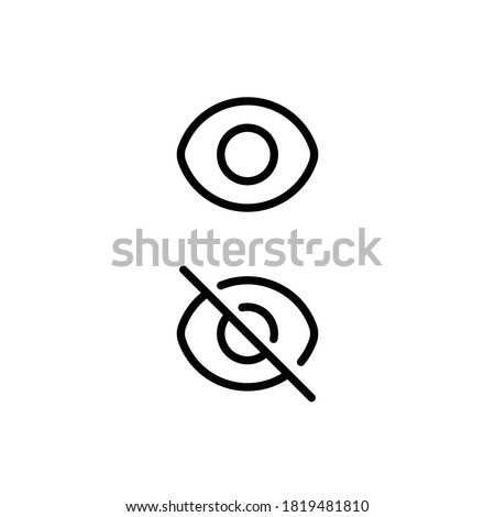vector illustration of show and hidden icon for password view in user interface design.