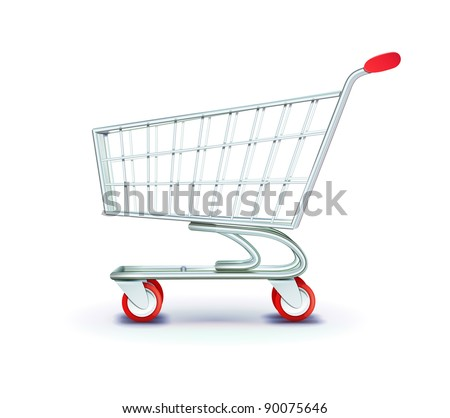 Vector illustration of side view empty supermarket shopping cart isolated on white background.