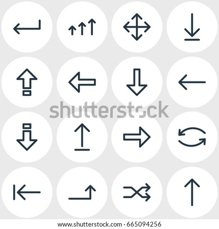 Vector Illustration Of 16 Sign Icons. Editable Pack Of Direction, Loading, Update And Other Elements.