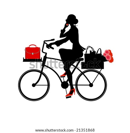 Vector  Illustration of Silhouette a beautiful business woman speaking on the phone while riding a bicycle.