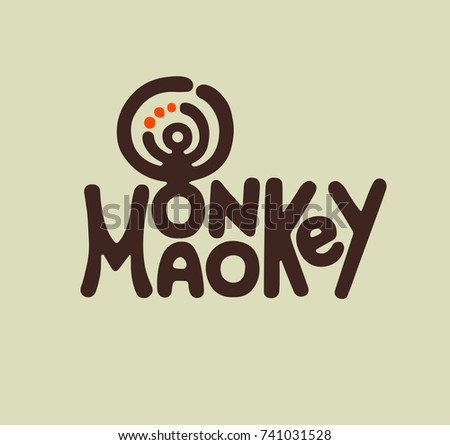 Vector illustration of silhouette an animal - a monkey. Hand made a silhouette of monkey for print, label, brand. Creative and original print monkey silhouette for typography on a t shirt or cover