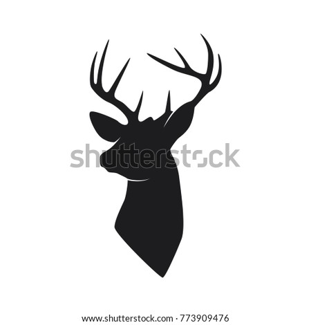 Vector illustration of silhouette head deer