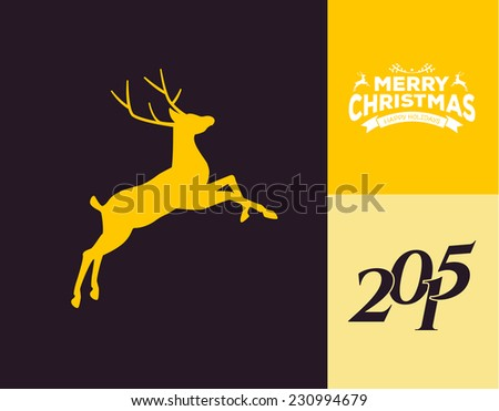 vector illustration of silhouette of a running deer
