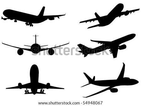 Vector illustration of silhouette of airplanes airbus or plane