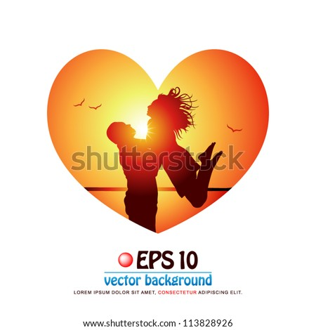 vector illustration of silhouette of attractive romantic couple in love at the beach on background of sunset in valentine heart shape